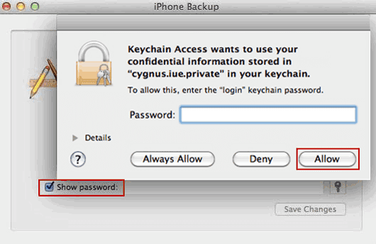 Keychain for decrypting iTunes backup