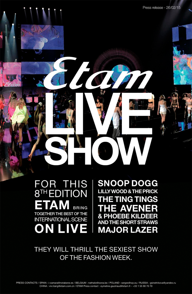 etam, live show, paris fashionweek, 2015, new collection, press, sexy, lingerie, snoop dogg, the ting tings