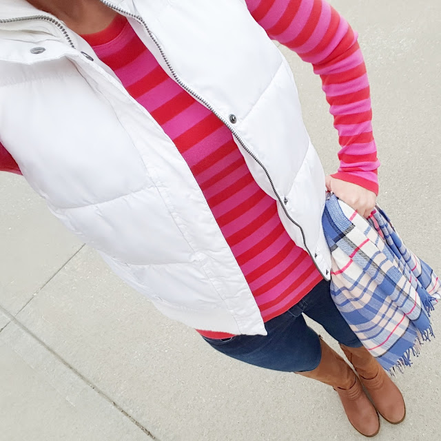 Gap Striped Tee (this year's version - on sale for $13, regular $25!) // Merona Puffer Vest (this year's version) // 7 For All Mankind Jeans // Jessica Simpson Elmont Boots // Gap Scarf (similar only $10, regular $30!)