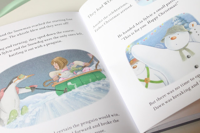 inner pages of personalised The Snowman and the Snowdog book showing personalisation throughout