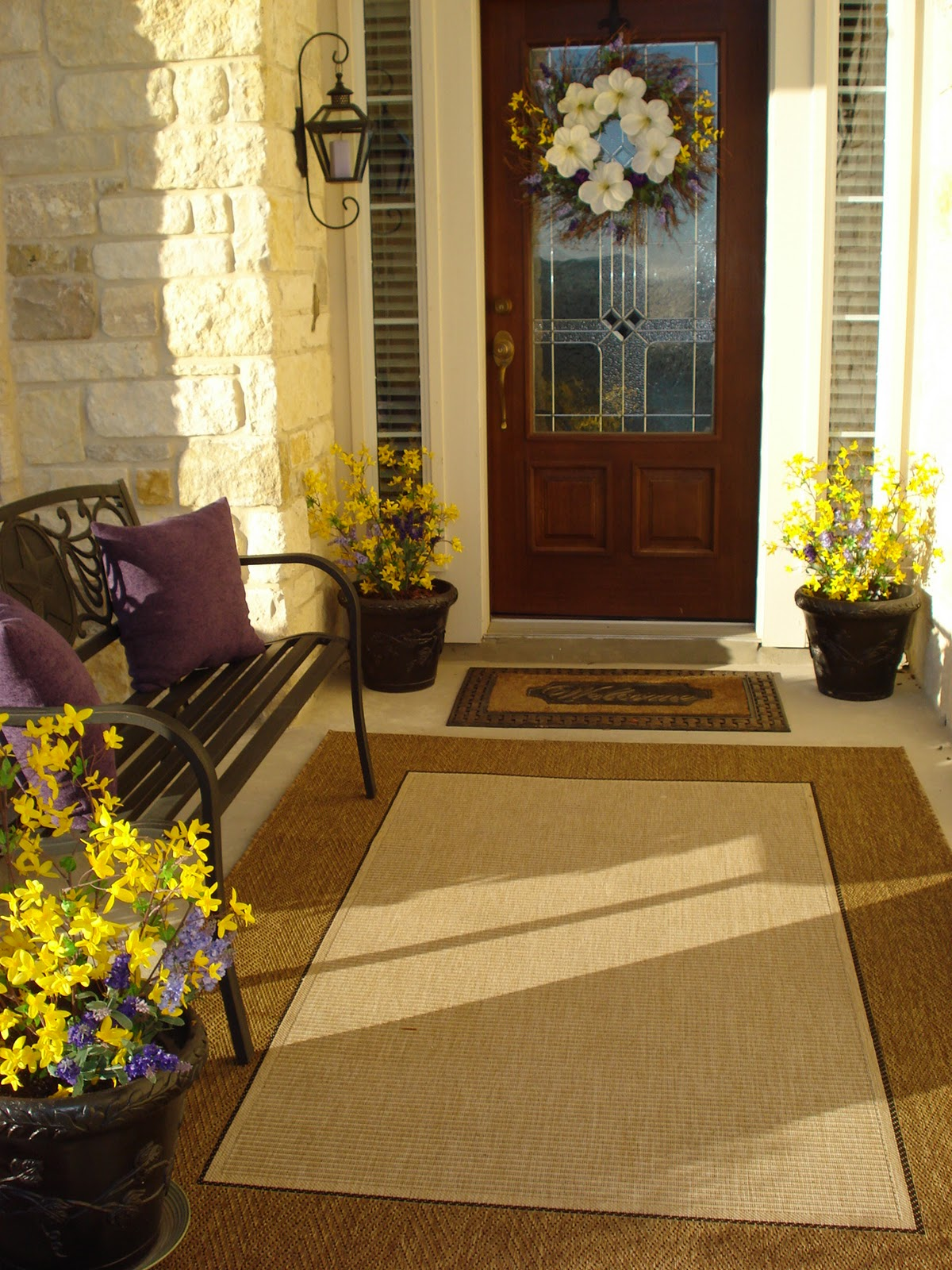Our home away from home front porch decor for different for Front door patio ideas