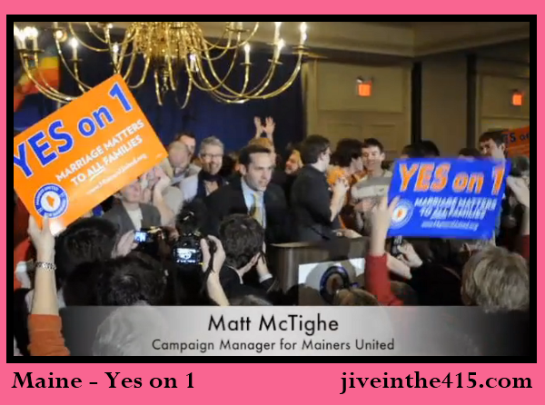 Maine marriage equality supporters celebrate Yes on 1.