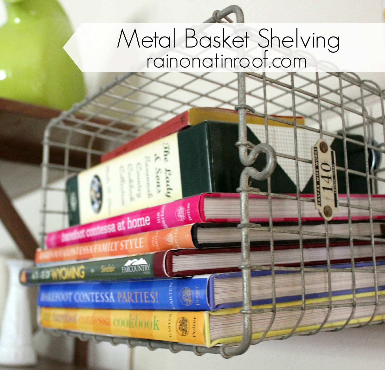 DIY Metal Basket Shelving {rainonatinroof.com} #metal #basket #organize #