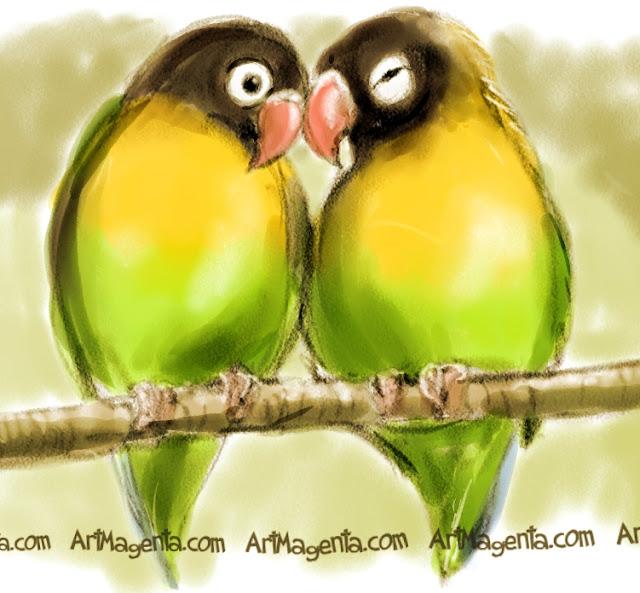 Masked Lovebird  sketch painting. Bird art drawing by illustrator Artmagenta.