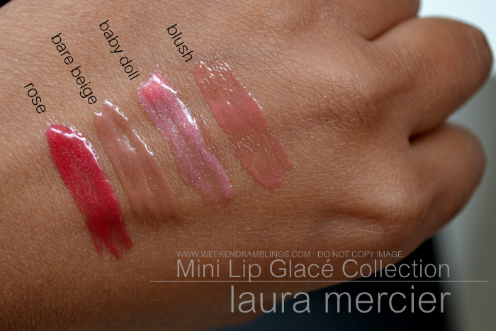 Laura Mercier Mini Lip Glac Collection Indian Makeup Beauty Blog Swatches Holiday Sets Sephora Bare Beige Rose Baby Doll Blush