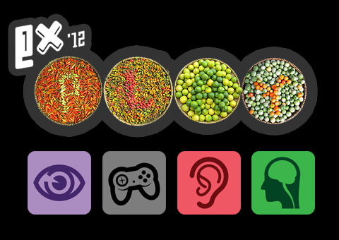 Mashed up image of the ExPlay logo for 2012 mixed with a colour-blind test. Beneath are four symbols representing sight, (an eye), input, (a joypad), hearing, (an ear), and cognitive (a brain).