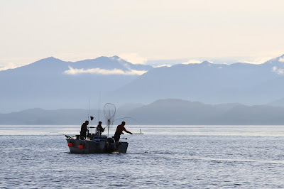 Silhouette of Fishermen in Whale Channel