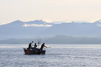 Silhouette of Fishermen in Whale Channel