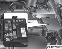 מיקום נתיכים בתא מנוע ליד המצבר - קאיה ריו 2013