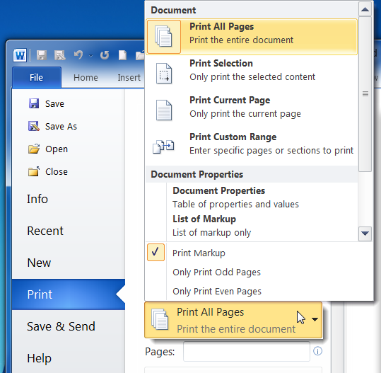 how to go to a particular page in word 2010