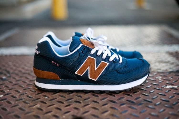 574 new balance blue tan