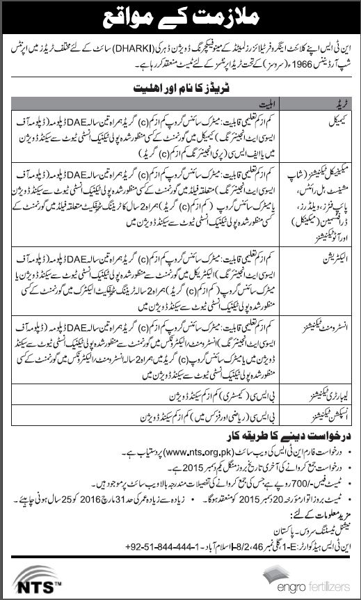 B.Sc & DAE Jobs in Engro Fertilizers Through NTS
