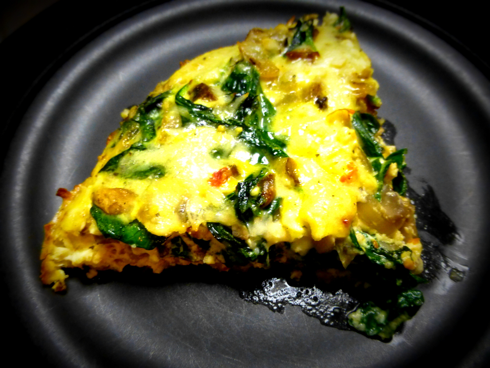 Spinach, Mushroom Quiche with Potato Crust ~ Living Life & Loving It