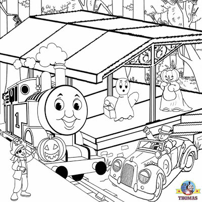 Printable railway station drawing Thomas tank engine coloring pages to color free Halloween pumpkin