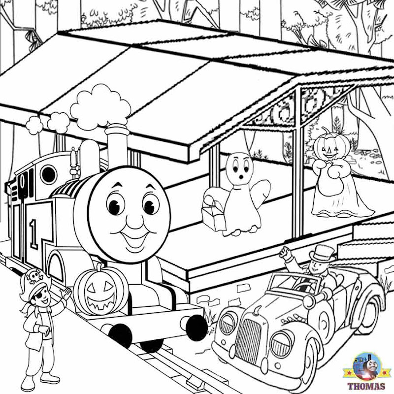Thomas tank engine coloring pages to color free Halloween pumpkin title=