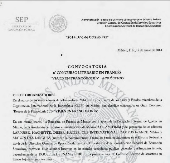 CONVOCATORIA 8° CONCURSO LITERARIO EN FRANCÉS
