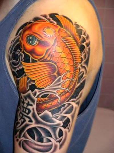 Golden Fish Tattoo Design