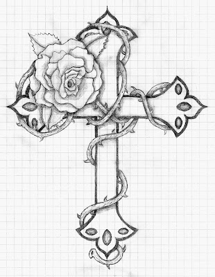Crosses with Roses Drawing