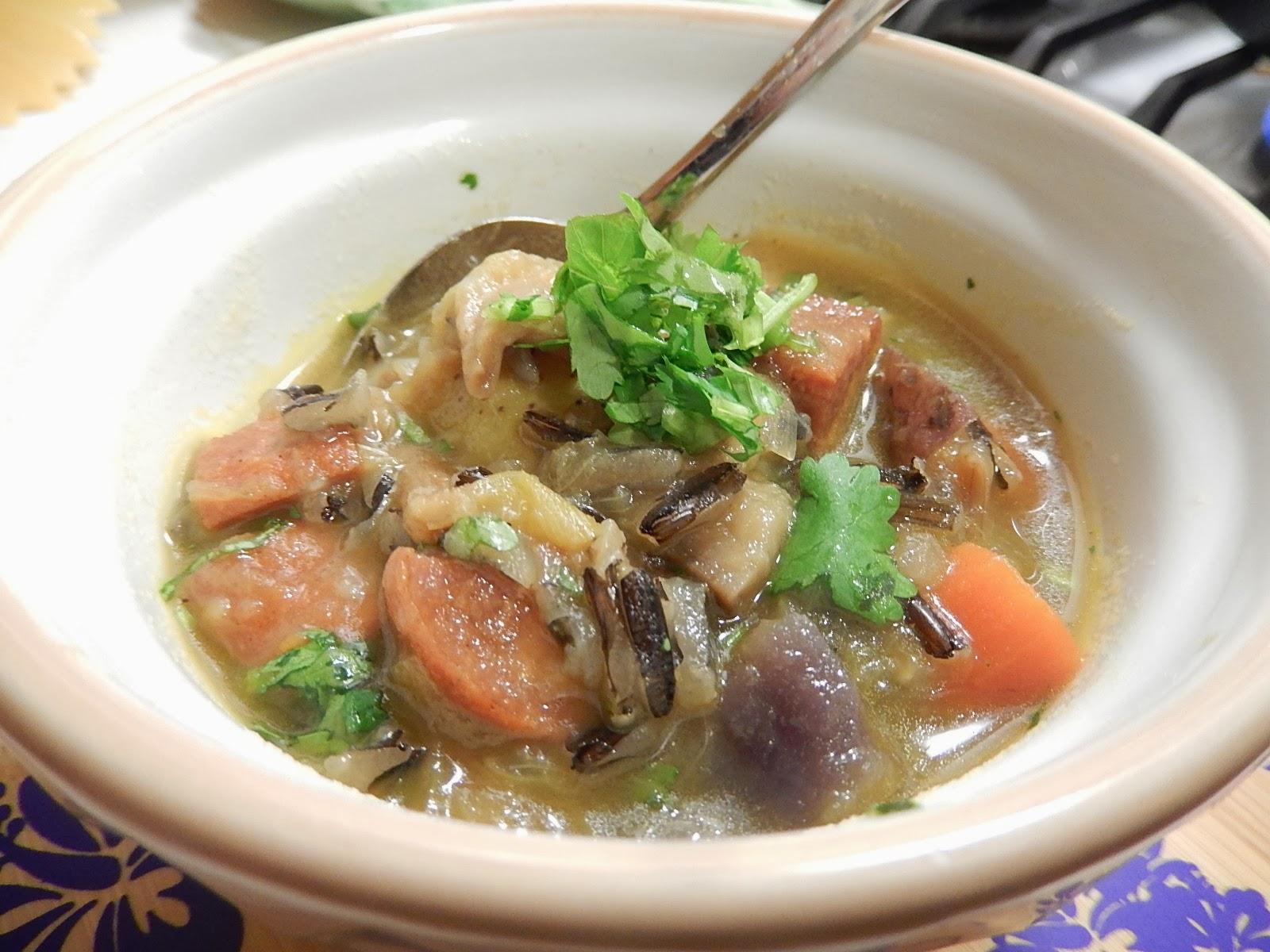 ... cooks!: Hawaiian Portuguese sausage and Minnesotan wild rice Soup