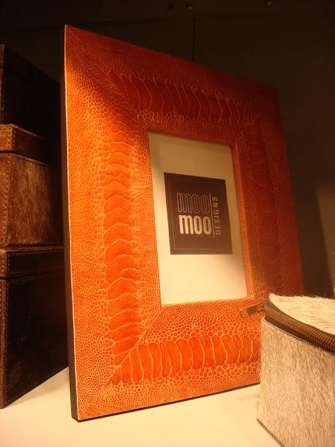 Luxury interior designer finds embossed orange leather frame by Moo Moo