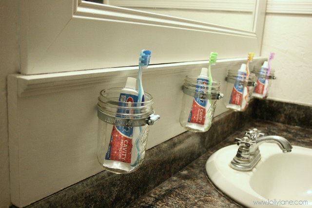 toothbrushes in mason jars
