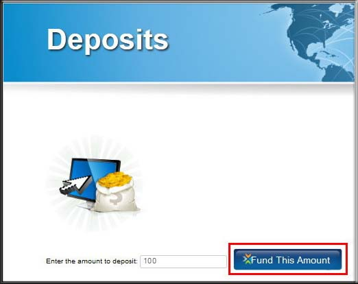 Deposit via perfect money