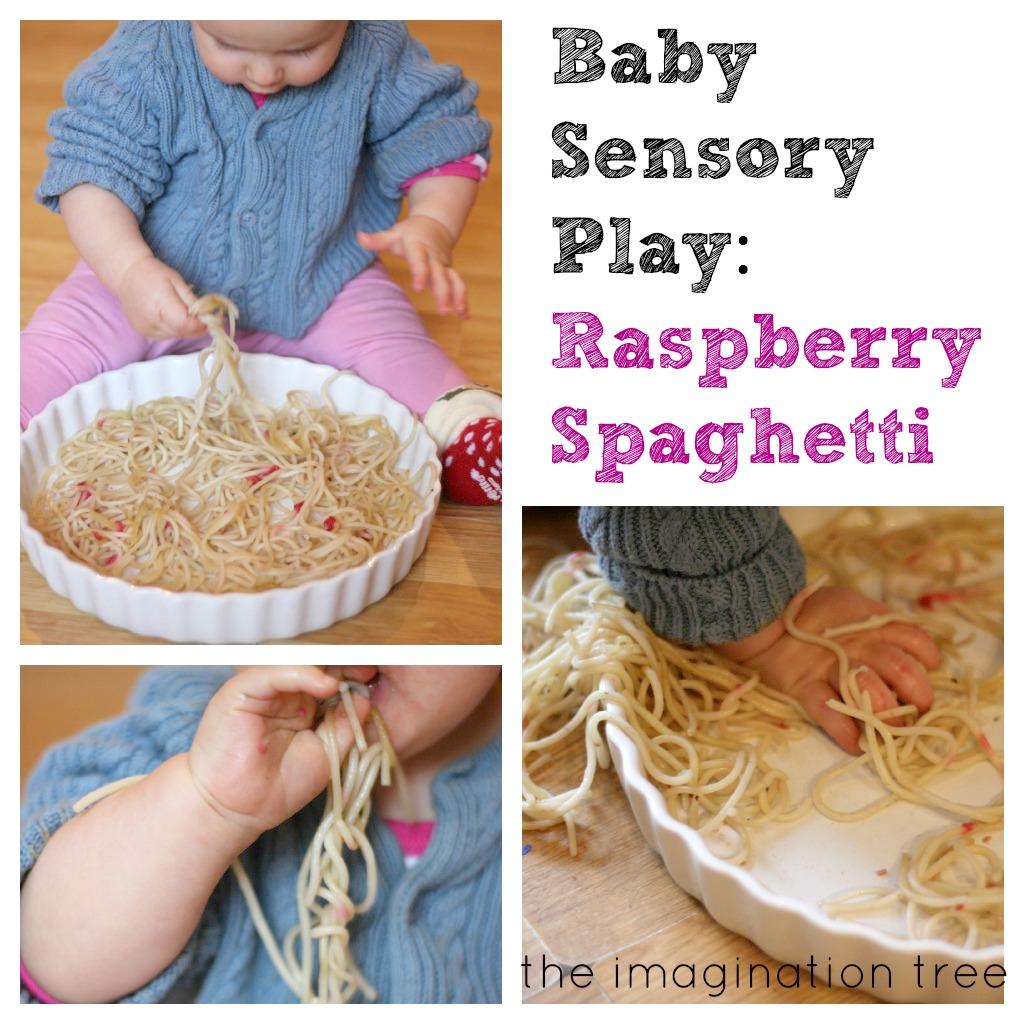 Baby Sensory Play: Raspberry Spaghetti - The Imagination Tree