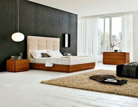 modern night stand in bedroom layout