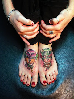Devil Tattoos on Girls Feet