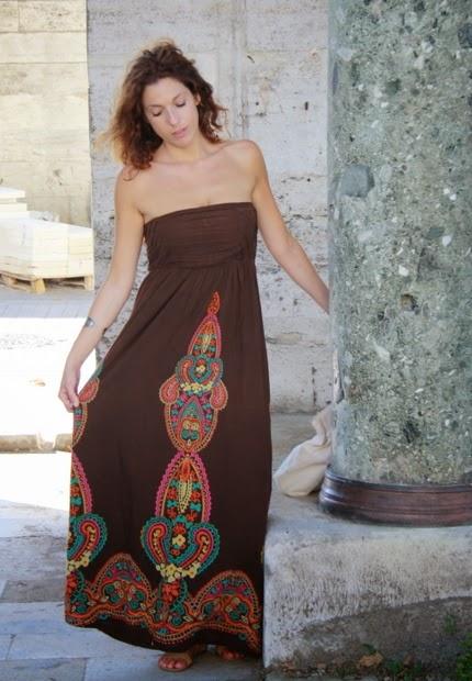 vestido largo marron colores