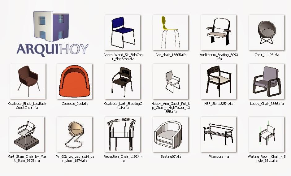 Familias de asientos para revit arquihoy for Taburete dwg