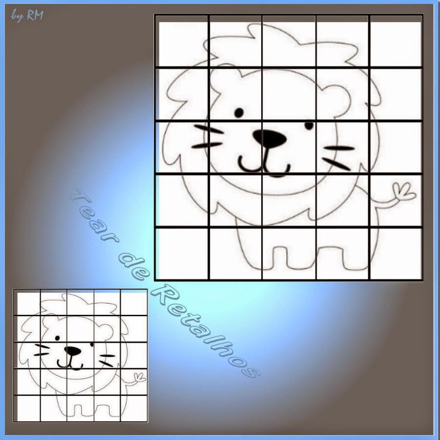 Ampliando ou reduzindo uma figura pelo método da malha quadriculada.