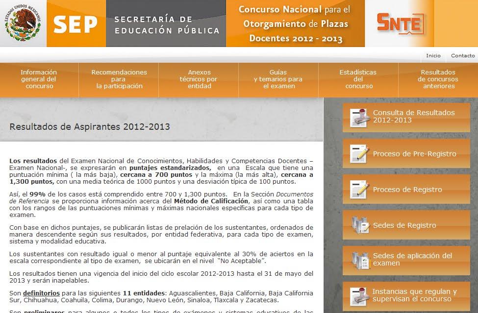 Resultados Examen ALIANZA OPOSICION 2012-2013 Mexico