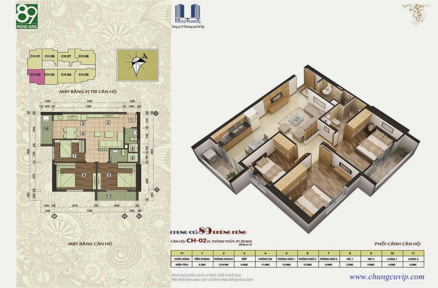 Chung cư 89 Phùng Hưng, Căn 83,56 m2