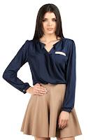 Camasa cu maneca lunga, eleganta, de culoare bleumarin ( )
