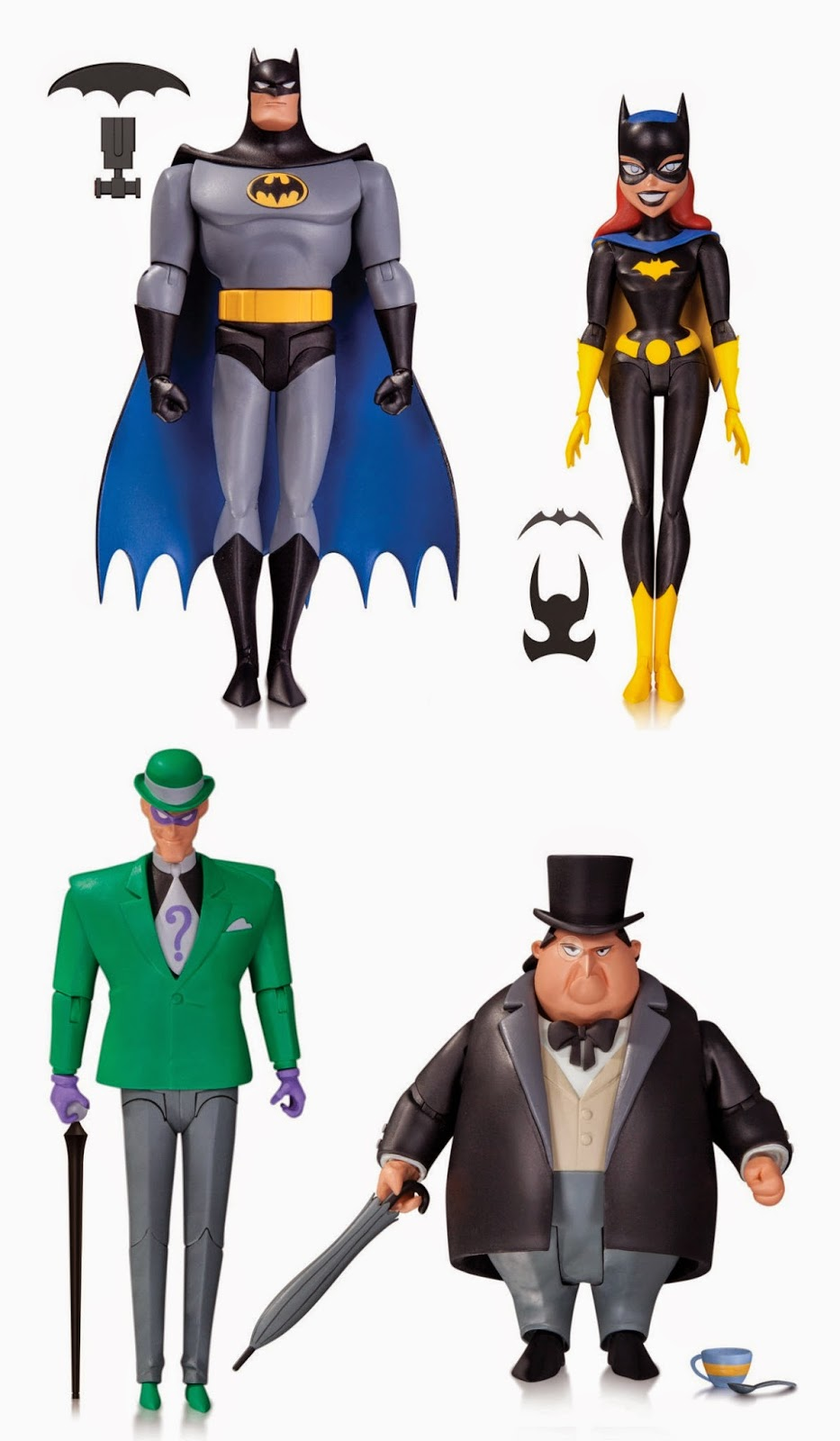 "Batman The Animated Series Wave 4 6"" Action Figure by DC Collectibles - Gray and Black Suit Batman, Batgirl, The Riddler & The Penguin"