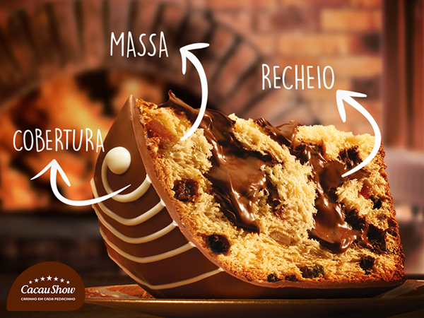 sobremesa panettone com recheio de chocolate trufado e cobertura de chocolate ao leite