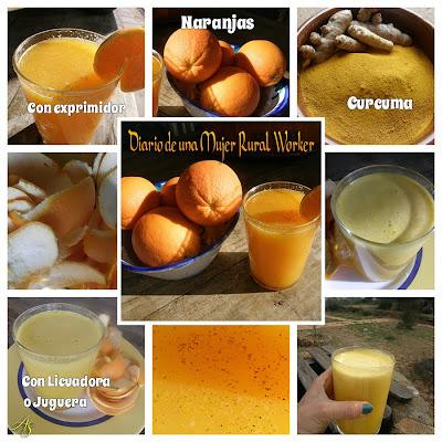 Jugo de naranja y curcuma