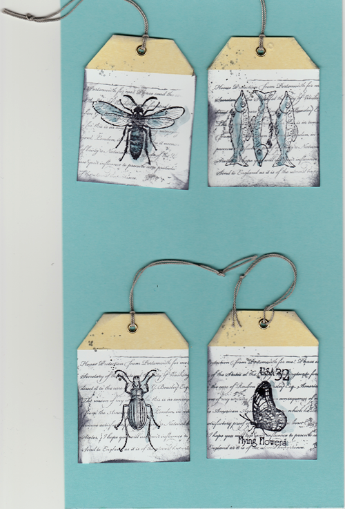 like stamps so much tags mit insekten und drei fischen. Black Bedroom Furniture Sets. Home Design Ideas