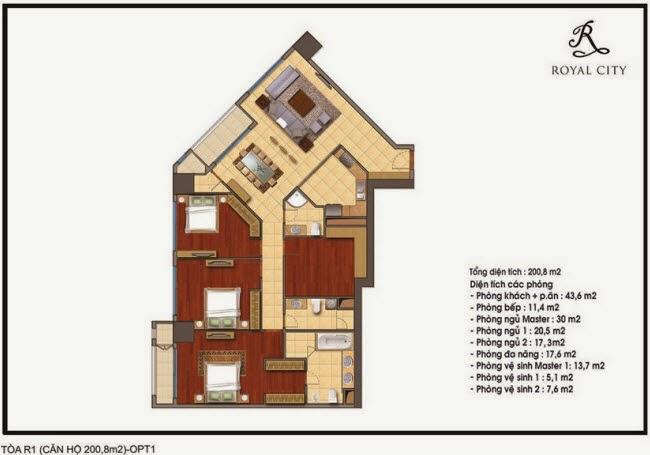 mặt bằng căn hộ 200.8m2 tòa R1 chung cư Royal City