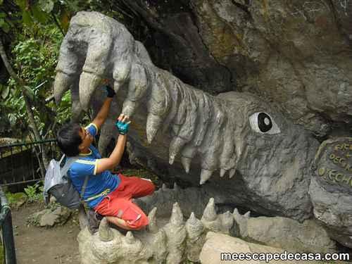 El Caminante simulando una lucha con un caimán de piedra en el Centro Turístico del Río Tioyacu (Rioja, Perú) 1