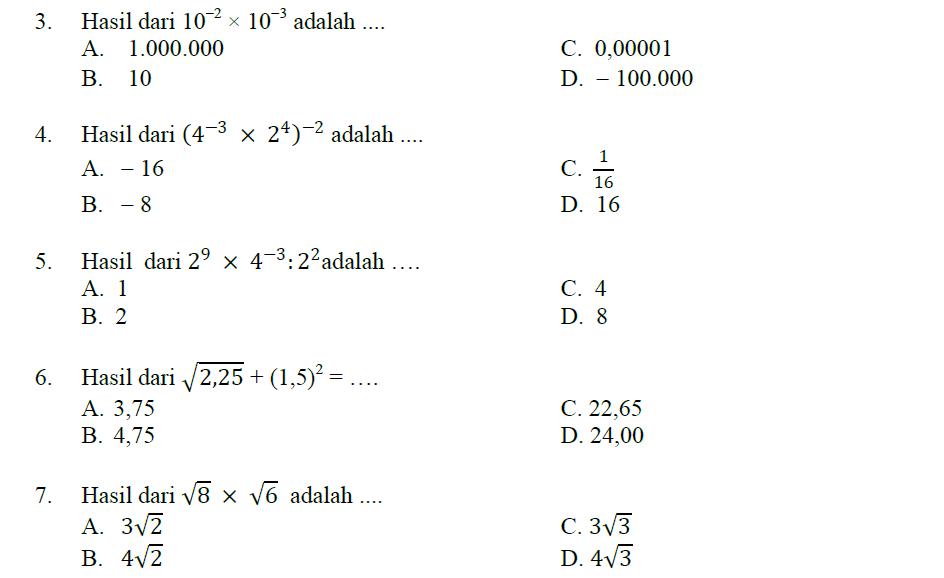 Latihan Bilangan Berpangkat Dan Bentuk Akar Matematika