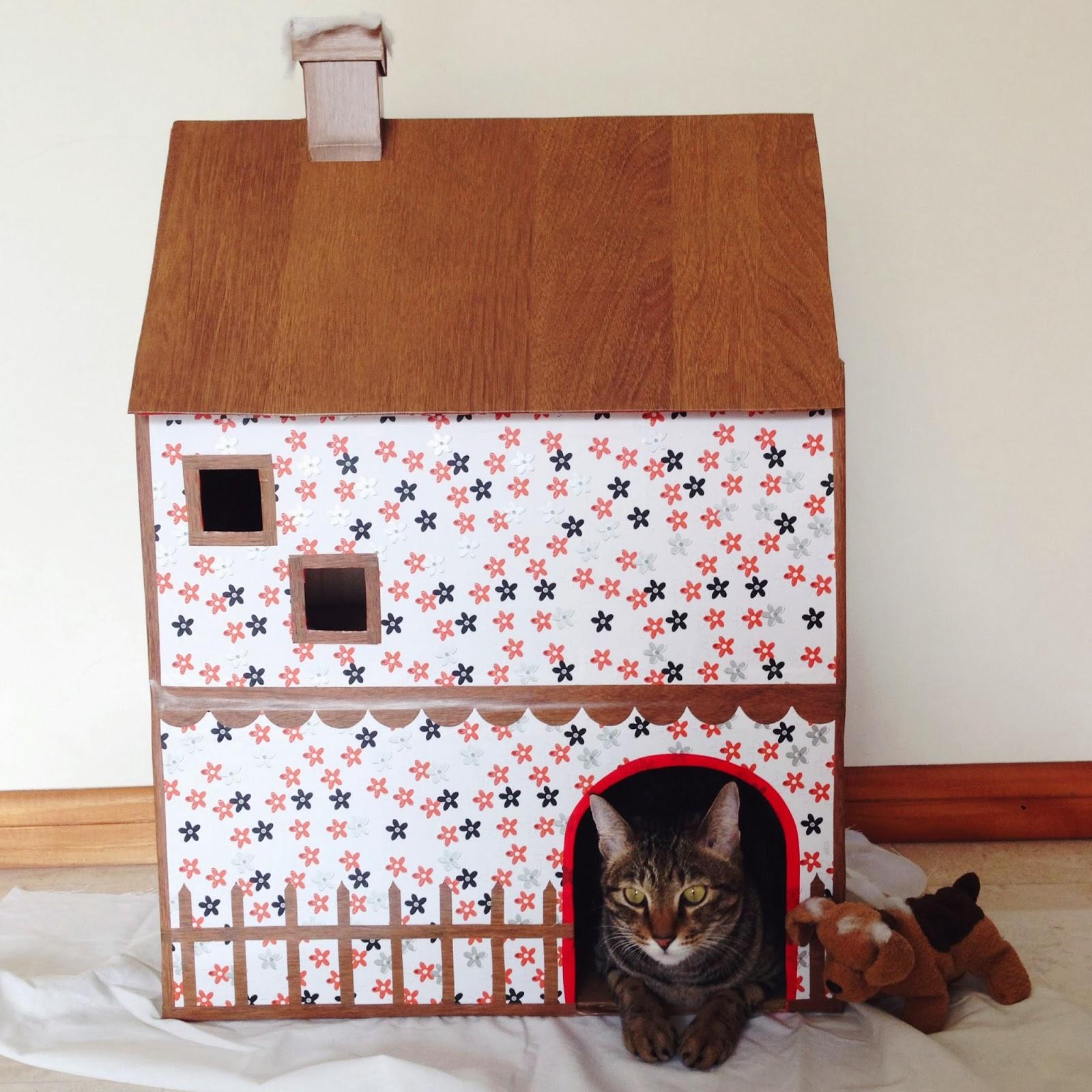 penny for a song cardboard cat house. Black Bedroom Furniture Sets. Home Design Ideas