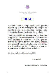 EDITAL - CEMITÉRIO DE SÃO BRÁS DOS MATOS