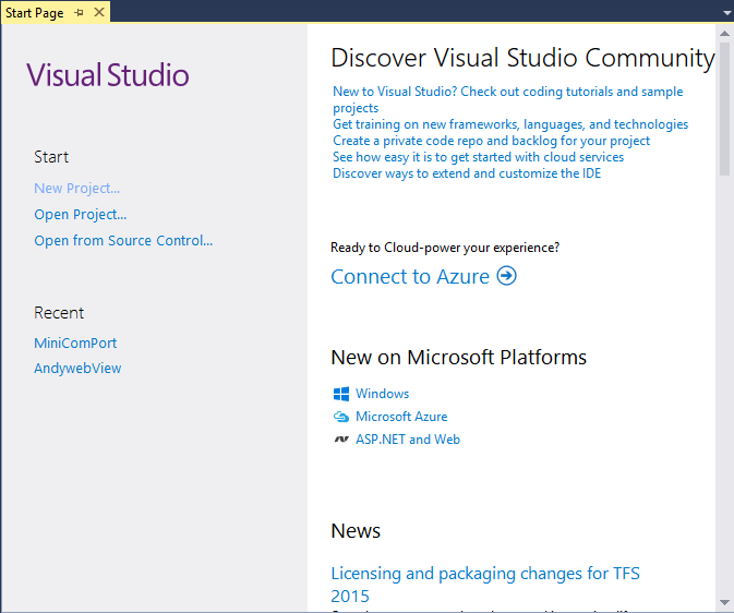 Hodentek: Details Of Installed Project Templates In Visual Studio 2015 Community