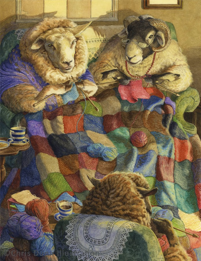 Knitting Artist : Chris dunn illustration fine art
