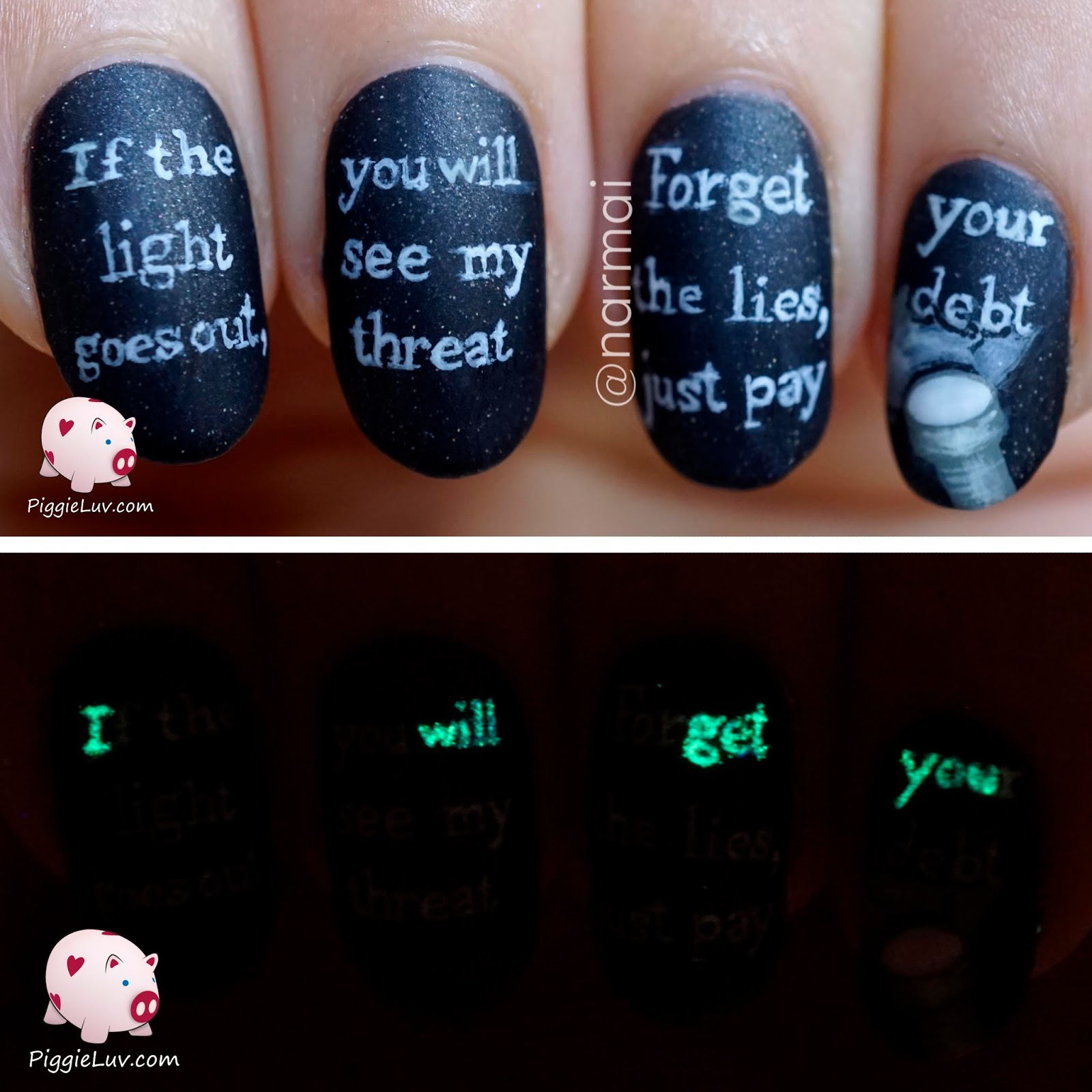 Piggieluv Glow In The Dark Threat Message Nail Art