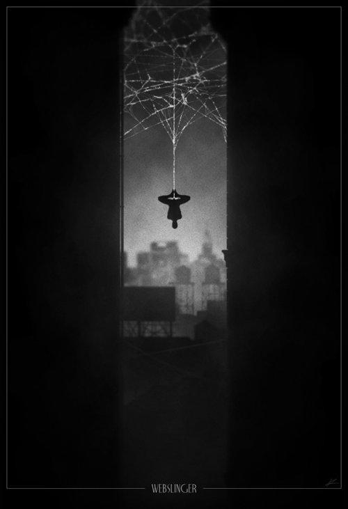marko manev ilustração poster super heróis noir minimalista preto e branco homem-aranha atirador de teia