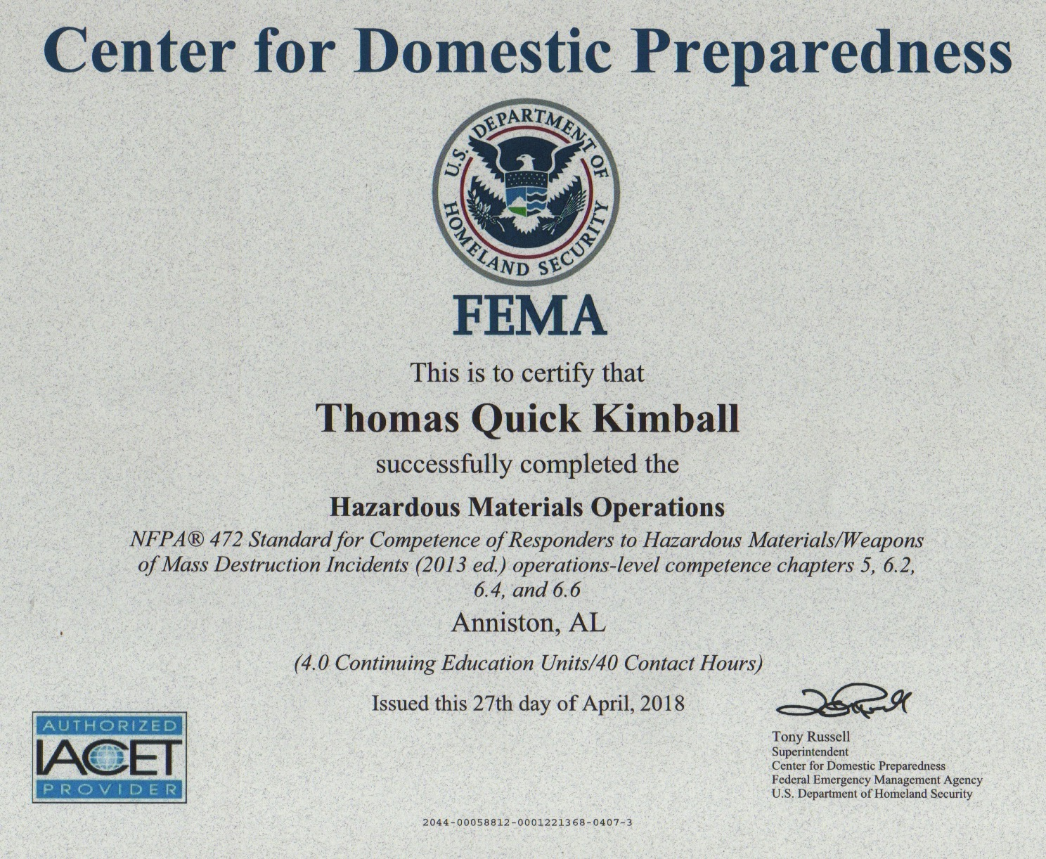 The Hazardous Materials Operations (HAZMAT Ops) Course HAZMAT OPS PER-322 at Class number 18R-0316