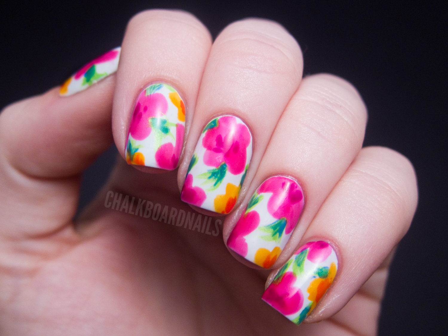 I saw this lovely design in a video tutorial made by Mr. Candiipants. It's  such an easy breezy technique but the results look like they took much  longer ... - China Glaze Summer Neons Nail Art: Hawaiian Floral Chalkboard